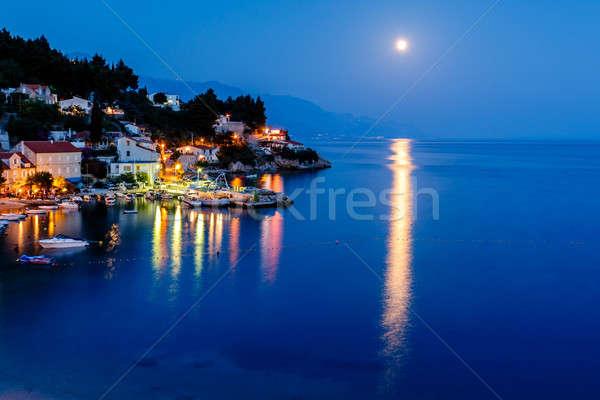 Stock photo: Peaceful Croatian Village and Adriatic Bay Illuminated by Moon,