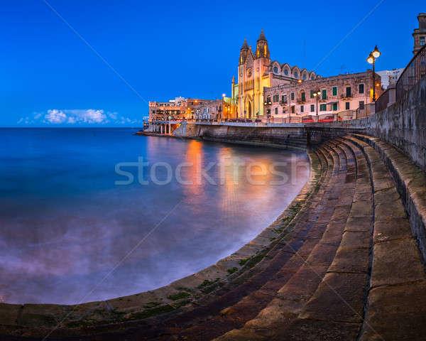 Balluta Bay and Church of Our Lady of Mount Carmel in Saint Juli Stock photo © anshar