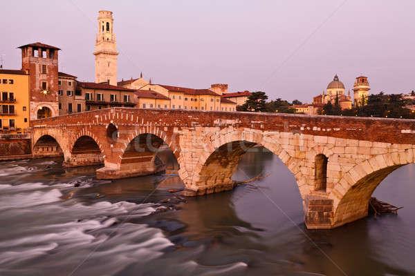 Romântico ponte manhã luz verona Itália Foto stock © anshar