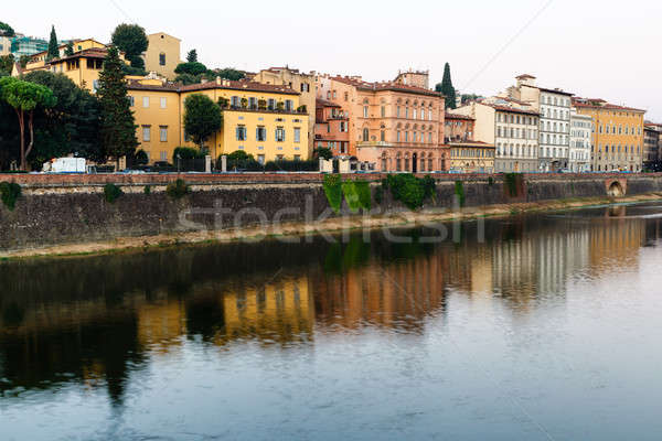 Stock photo: Arno River Embankment in the Early Morning Light, Florence, Ital