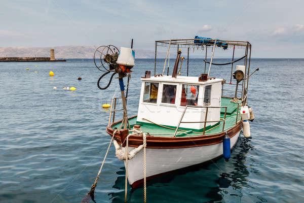 Stok fotoğraf: Balıkçı · tekne · liman · Hırvatistan · su · şehir
