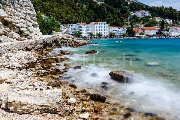 Beautiful Rocky Beach and Adriatic Sea Surf near Split, Croatia Stock photo © anshar
