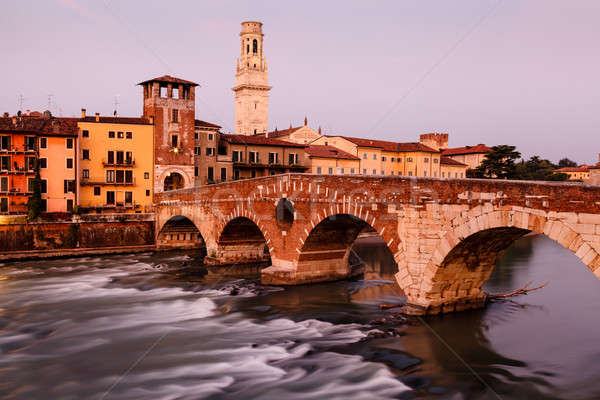 View of Adige River and Saint Peter Bridge in Verona, Veneto, It Stock photo © anshar