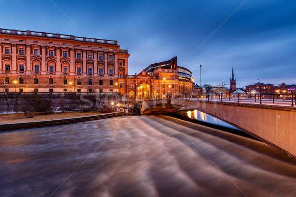 Budynku most wieczór Sztokholm Szwecja niebo Zdjęcia stock © anshar