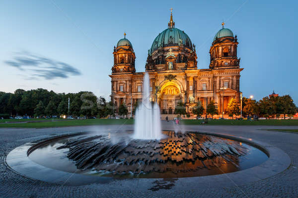 Berlin Cathedral (Berliner Dom) and Fountain Illuminated in the  Stock photo © anshar