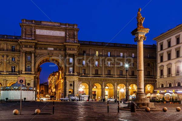 Coluna abundância manhã florence Itália cidade Foto stock © anshar