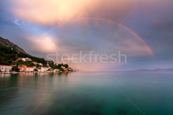Rainbow over the Small Village in Omis Riviera after the Rain, D Stock photo © anshar