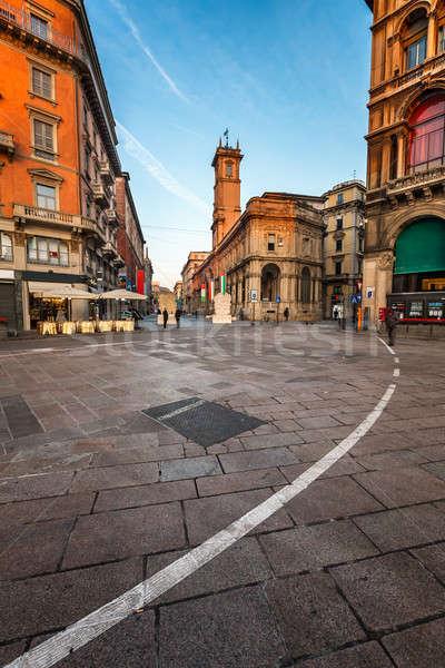 Manhã milan Itália rua casa azul Foto stock © anshar