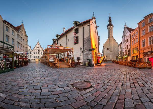Stock photo: Tallinn Town Hall and Olde Hansa Restaurant in the Morning, Tall