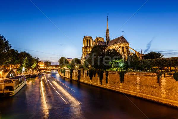 Сток-фото: Париж · собора · лодка · фары · реке