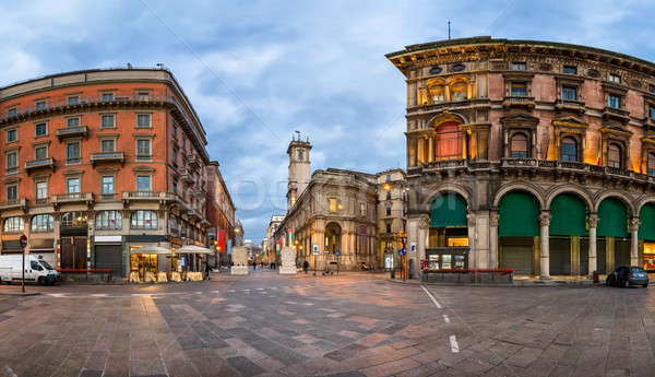 Piazza del Duomo and Via dei Mercanti in the Morning, Milan, Ita Stock photo © anshar