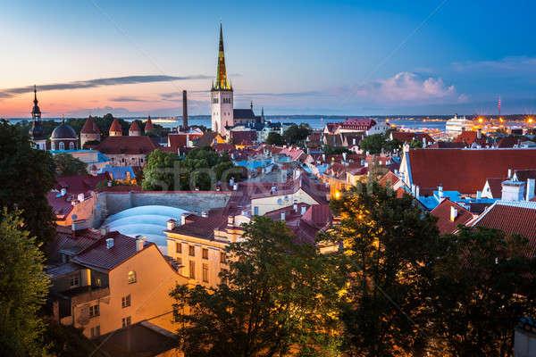 Aerial View of Tallinn Old Town in the Evening, Tallinn, Estonia Stock photo © anshar