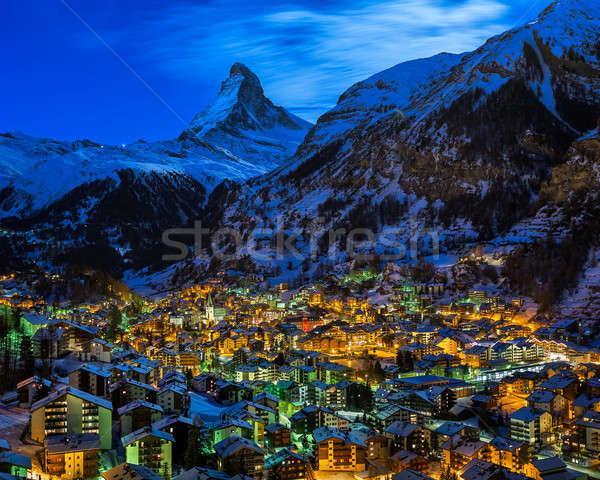Vadi şafak İsviçre ev Stok fotoğraf © anshar