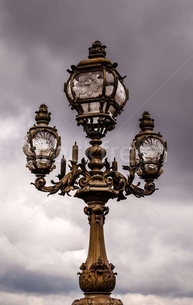 Street Lantern on the Alexandre III Bridge against Cloudy Sky, P Stock photo © anshar