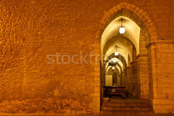 Archway in Tallinn Town Hall at Night in Raekoja Square, Estonia Stock photo © anshar