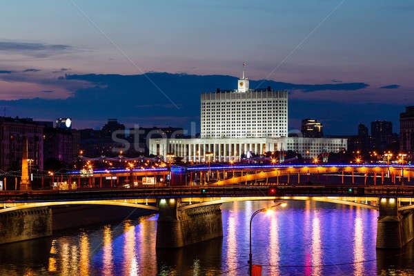 Witte huis Moskou rivier nacht Rusland gebouw Stockfoto © anshar