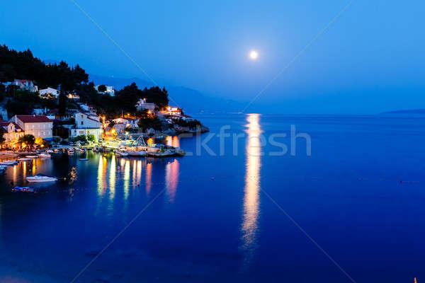 Peaceful Croatian Village and Adriatic Bay Illuminated by Moon,  Stock photo © anshar
