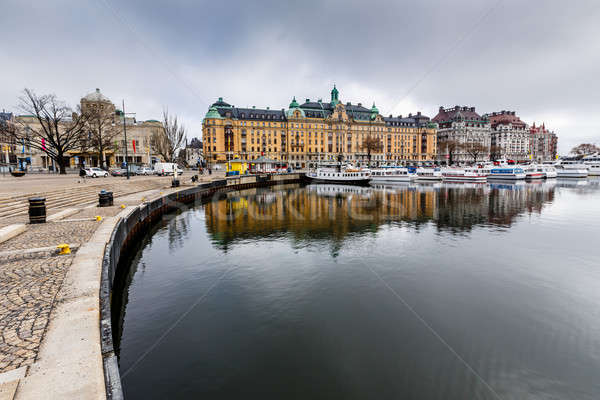 Strandvagen Embankment with Many Luxury Yachts in Stockholm, Swe Stock photo © anshar