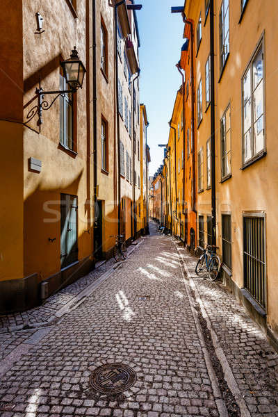 Narrow Street in Old Town (Gamla Stan) of Stockholm, Sweden Stock photo © anshar