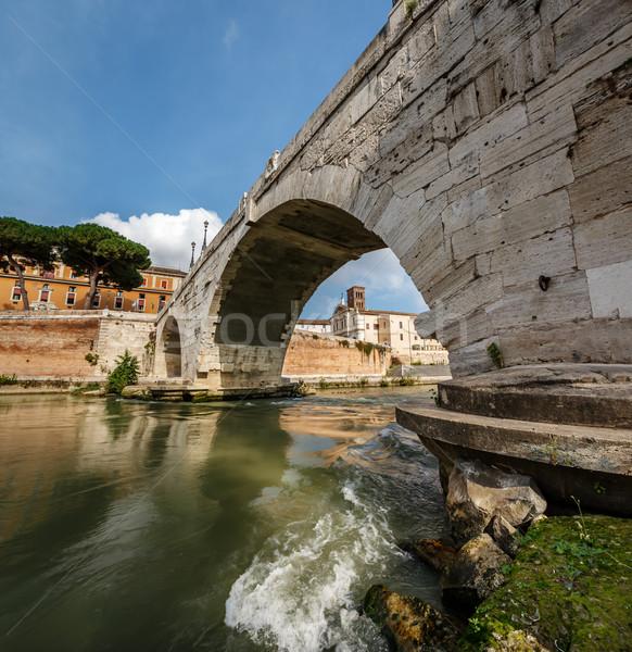 Panorama of Tiber Island and Cestius Bridge over Tiber River, Ro Stock photo © anshar