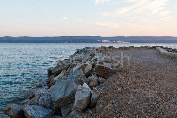 Breakwater on Makarska Riviera at Sunset, Croatia Stock photo © anshar