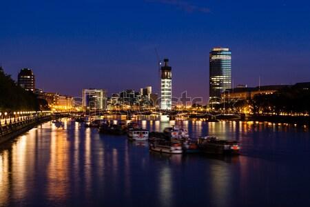 Thames nehir Londra Cityscape gece Büyük Britanya Stok fotoğraf © anshar
