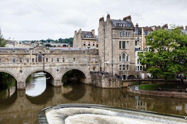 Stok fotoğraf: Köprü · banyo · İngiltere · gökyüzü · çiçek · ağaç