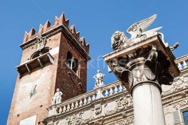 Piazza delle Erbe and Lion of Saint Mark in Verona, Veneto, Ital Stock photo © anshar