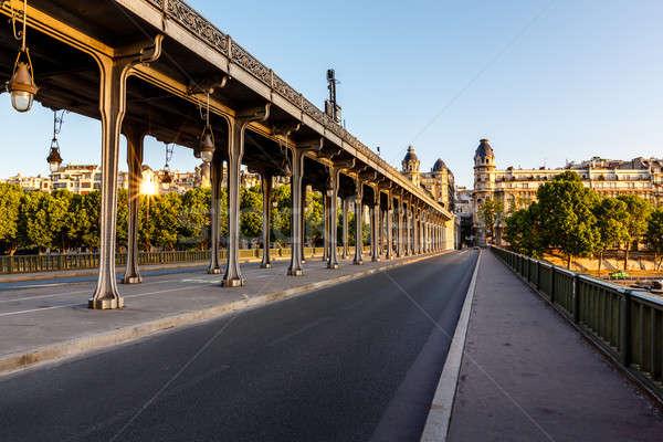 Köprü sabah Paris Fransa ağaç Bina Stok fotoğraf © anshar