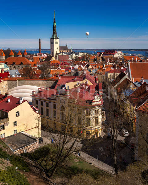 Aerial View of Tallinn Old Town and Olaviste Church from Toompea Stock photo © anshar