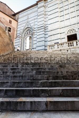 Lépcsőfeljáró felfelé katedrális Toszkána Olaszország épület Stock fotó © anshar