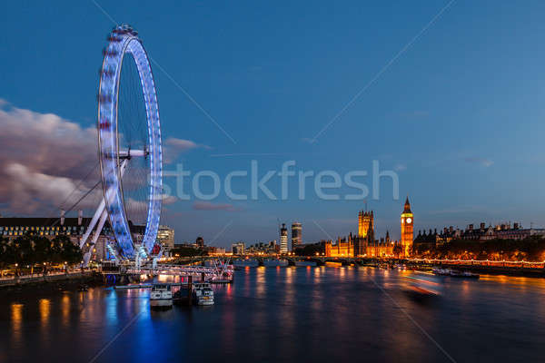 London Skyline with Westminster Bridge and Big Ben in the Evenin Stock photo © anshar