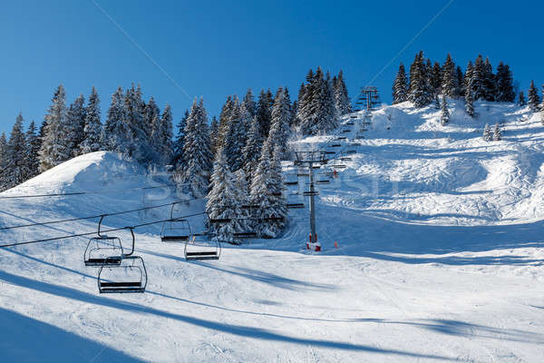 Sunny Ski Slope and Ski Lift near Megeve in French Alps, France Stock photo © anshar