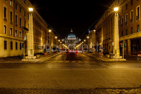Saint Peter Basilica and Vatican City in the Night, Rome, Italy Stock photo © anshar