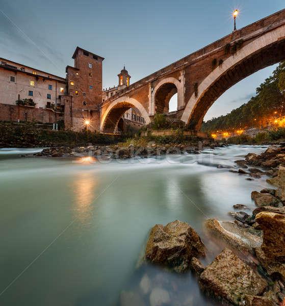 Fabricius Bridge and Tiber Island at Twilight, Rome, Italy Stock photo © anshar