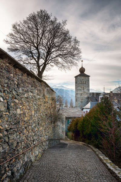 Stockalper Citadel and Defence  Wall in Brig, Switzerland Stock photo © anshar