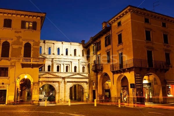 Antigo romano portão verona Itália casa Foto stock © anshar