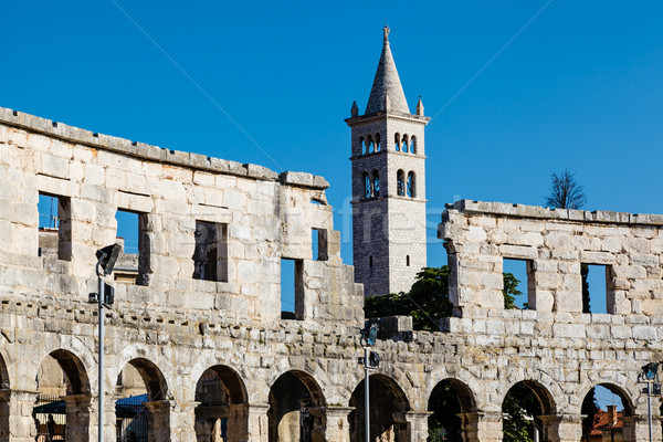White Church and the Ancient Roman Amphitheater in Pula, Istria, Stock photo © anshar