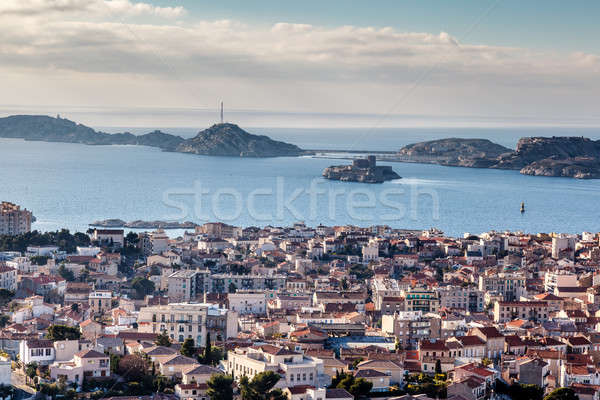 Luchtfoto Marseille stad eilanden Frankrijk home Stockfoto © anshar
