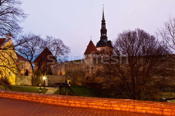 Early Morning at City Walls and Towers of Old Town in Tallinn, E Stock photo © anshar