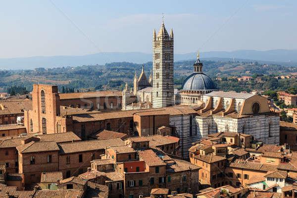 Aerial View on Siena and Santa Maria Cathedral, Tuscany, Italy Stock photo © anshar