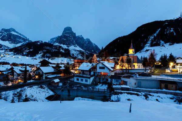 ストックフォト: スキー · リゾート · 1泊 · アルプス山脈 · イタリア · 建物