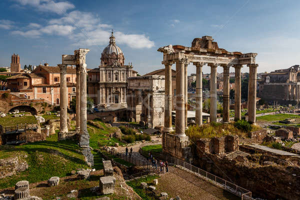 Stock photo: Roman Forum (Foro Romano) and Ruins of Septimius Severus Arch an
