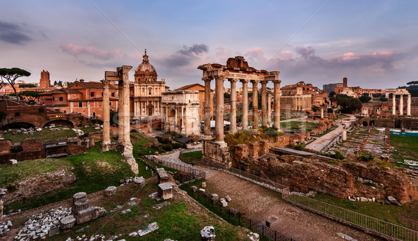 Panorama of Roman Forum (Foro Romano) at Sunset, Rome, Italy Stock photo © anshar