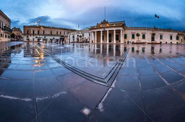 Fountain and Saint George Square on the Rainy Morning, Valletta, Stock photo © anshar