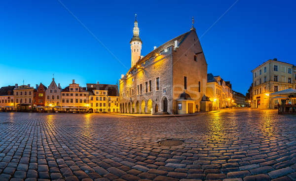 Tallinn Town Hall and Raekoja Square in the Morning, Tallinn, Es Stock photo © anshar