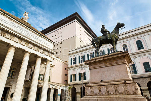 Giuseppe Garibaldi Statue and Opera Theater in Genoa, Italy Stock photo © anshar