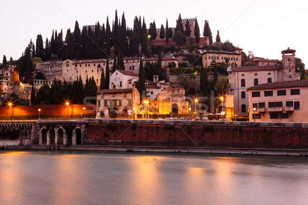 Adige River Embankment at Morning in Verona, Veneto, Italy Stock photo © anshar