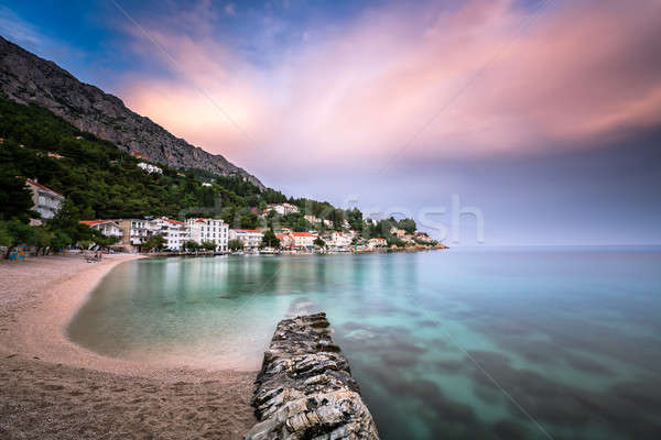 Beautiful Adriatic Beach and Mimice Village on Omis Riviera in D Stock photo © anshar