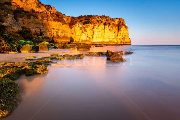 Plaj Portekiz manzara yaz mavi kum Stok fotoğraf © anshar